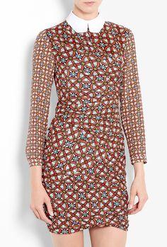 Contrast Print Twist Shirt Dress by Carven