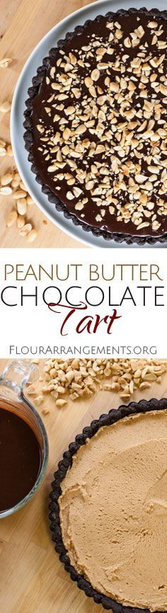 This indulgent Peanut Butter Chocolate Tart features creamy, rich peanut butter filling tucked between a chocolate crust and chocolate ganache. From Flour Arrangements.
