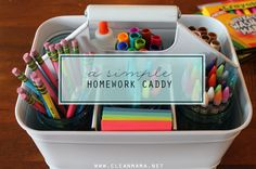 A little organization goes a long way!  Get your year off to a great start by putting supplies together to make homework time a little easier.  A Simple Homework Caddy   Clean Mama