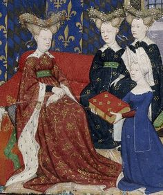15th century fashion--Christine de Pisan presents her book to Queen Isabeau, who wears a figured houppelande lined in ermine with a broad collar and a heart-shaped headdress. Her books stress that women should dress appropriately to their station in life, as her own less sumptuous headdress here reflects.