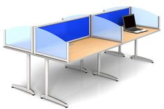 Delicieux Blue Colored Frosted Acrylic Desk Dividers For Adding Privacy To Office  Desks Or Tables.