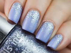 Nails inc in bluebell with nails inc pastel glitters in Maida Vail.