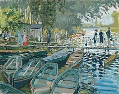 """Bathers at La Grenouillère, 1869:: One of Monet's early Impressionist works; accompanied by Renoir who executed canvasses from the same view point. Literally translated = """"the froggery"""", and set a fashion for Seineside pictures of bathing & yachting, that later became almost the stereotypical Impressionist subject. Tone is still used in some places to model form, while black is still used for the shadow of the boats in the water :: black was eliminated from Monet's palette altogether by…"""