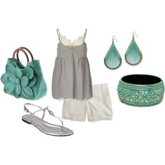 Summer Dream Outfit : White Shorts, Silver tank top & sandals, Turquoise Purse, Earrings & bracelet.