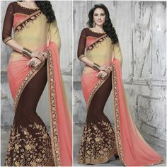 Chocolate and slight Pink Saree with Designer Blouse Product Number:NRNS-MDR8804