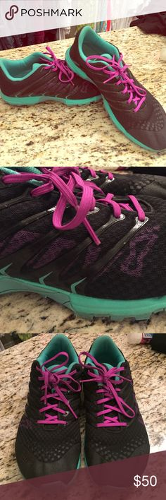 Inov-8 F-lite 195 training shoes These are barely worn inov8 training shoes. The model is the f-lite 195. Black, teal and purple. Super cute, light and comfy. They are great for athletic training as well as running. They have the rope climb tech sole as well. MAKE AN OFFER! 🚫trades Inov8 Shoes Athletic Shoes