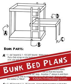 {Build A Bed} Free Plans for Triple Bunk Beds Triple bunk bed plans. Great to have a spare bed for sleepovers! Triple Bunk Beds Plans, Bunk Bed Plans, The Plan, How To Plan, Bunk Beds With Stairs, Kids Bunk Beds, Bed Stairs, Spare Bed, Built In Bed