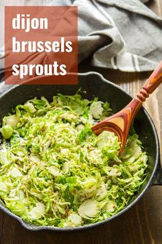 flavorful Dijon Brussels sprouts are simple but packed with flavor, sautéed until tender crisp, and make a perfect healthy side for an elegant meal. Vegan Dinner Recipes, Vegan Dinners, Whole Food Recipes, Vegetarian Recipes, Cooking Recipes, Healthy Recipes, Vegan Vegetarian, Vegan Brussel Sprout Recipes, Vegan Food