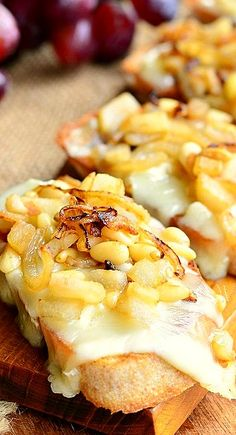 Brie Crostini with Caramelized Onions, Pear and Pine Nuts...