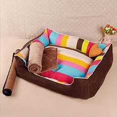 Pet House Kennel Multicolored Stripes very Good Quality with Removable Cushion very Soft Warm Dog Bed Room for Puppy Small Medium Large Dog Cat  3 Sizes available ** You can find more details by visiting the image link.