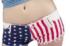 Women Low Waist Burr Cut Off Star Sexy American US Flag Jean Denim Shorts >>> Find out more about the great product at the image link.(This is an Amazon affiliate link and I receive a commission for the sales)