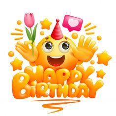 Happy Birthday Greeting Card Template In Cartoon Style. Yellow Emoji Character With Tulip Flower In Hand Birthday Cake Greetings, Happy Birthday Greetings Friends, Happy Birthday Greeting Card, Birthday Wishes Cards, Happy Birthday Smiley, Funny Happy Birthday Song, Happy Birthday Images, Emoji Cara Feliz, Free Emoji