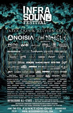 Infrasound Music Festival in Highbridge, Wisconsin. 2016 is not this fest's first year, but damn, it might be its best. Sporting a lineup with the likes of Noisia, Shpongle and Alex & Allyson Grey, the smaller names are just as good as the headliners. Just for starters, we have Hatcha, Joker, Ivy Lab, Pantyraid, Stelouse, Jphelpz, Asa, Sorrow, Russ Liquid, Manic Focus, Mr. Bill [Live], Nostalgia, Grimblee vs Hecka … it's just not fair. Not to mention two sets from EOTO.