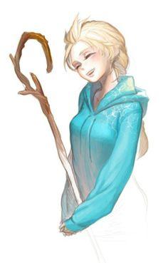 Elsa en Jack Frost (Elsa x Jack est le meilleur couple inter-fictions que j'ai jamais vu ♥)