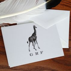 New to VeronicaFoleyDesign on Etsy: Giraffe Stationery Set of 10 Personalized or Monogrammed 100% Cotton Savoy (18.00 USD)