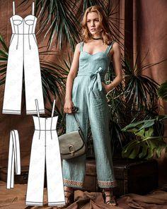 Dress Sewing Patterns, Vintage Sewing Patterns, Clothing Patterns, Jumpsuit Pattern, Pants Pattern, Pattern Fabric, Shirt Patterns For Women, Sewing Blogs, Fashion Sewing
