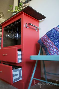 Repurposed furniture - top 2 drawers removed & replaced with shelf.