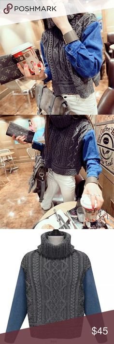 """LAST ONE 🌺Turtle neck denim sleeve sweater Sleeves are denim, turtle neck. Material acrylic. Measurement: length 20.1"""" bust 39-40"""", shoulder to shoulder: 15.7"""", sleeve length 22.5"""" Sweaters"""
