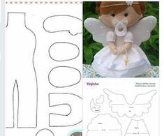 Best 12 Terços em feltro,todos com 💙💗💙 . Felt Doll Patterns, Felt Animal Patterns, Stuffed Animal Patterns, Felt Diy, Felt Crafts, Kids Crafts, Fabric Dolls, Paper Dolls, Felt Christmas