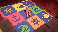 "Amazon.com - SoftTiles Nautical Ocean Theme Interlocking Foam Playmat Blue, Red, Orange, Yellow, Lime 78"" x 78"" -"