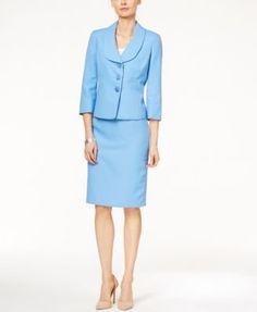 Le Suit Three-Button Shawl-Collar Pique Skirt Suit | macys.com