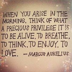 Marcus Aurelius-gotta remember this as I struggle with mornings. Remember to be thankful to God for your many blessings.