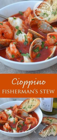 Cioppino (Fisherman's Stew) - Brimming with fresh seafood in a tomato and wine broth that tastes like the sea, cioppino (pronounced cho-pee-no) is a rustic Italian-American fish stew. #stew #dinnerrecipes #dinnertime #testedandperfected #delicious #eatwell