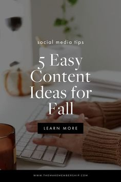 Autumn is just around the corner and that means it is time to start planning your Fall content! Here are 5 content ideas for Fall. Use these ideas for Instagram Reels, Blog Posts, social media posts, emails and more! #fallcontentideas #fallcontent #socialmediatips #fallideas #instagramreelideas #instagramreels