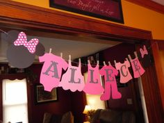 Minnie Mouse Baby Shower Clothesline Banner  by JLMpartyshop, $28.00