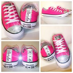 Women's HOT Pink RARE COLOR chucks Converse all star chucks Swarovski crystals rhinestones sneakers tennis shoes wedding prom bride by CrystalCleatss on Etsy