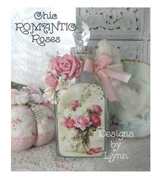 Beautiful Bejeweled Bottle 91 Romantic Roses DeLongpre Hand Embellished Originals By Lynn-pink, roses, shabby, chic, ruffles, Victorian, Vintage, Lynn, Barkcloth, PINK, cottage, white, Brundage,bottle