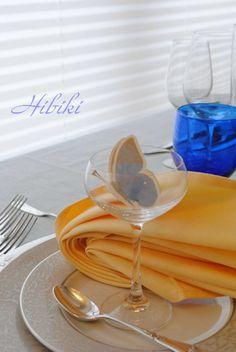テーブルコーディネートレッスン ナプキンのカラーでイメージが変わることを実感するレッスンです。