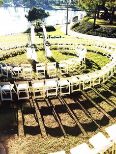 """Circular seating arrangement so everyone gets a view of the newlyweds say """"I Do"""". #weddingceremony #wedding #outdoorwedding"""
