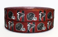 7/8 inch Grosgrain Atlanta Falcons NFL Football Ribbon, Grosgrain by the Yard, Sports Grosgrain, Ribbon By The Yard by KC Elastic Ties