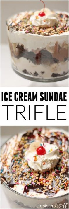 Ice Cream Sundae Trifle Recipe from @sixsistersstuff | such a fun dessert. Easy to make, pretty and a snap to put together.