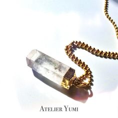 Raw Crystal Necklace Quartz crystal point necklace by AtelierYumi, $32.00