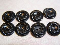 Vintage 3/4 Black Buttons Swirl Pattern Set by BusyBeeButtonsnBows, $3.00