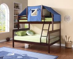 Get the most out of your space with our classic mission twin over full loft bed with a fixed ladder and fun blue bunk bed tent on top. This bunk bed feature solid pinewood construction in an attractiv