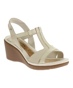 Look at this Hush Puppies Off-White Natasha Russo Leather Sandal on #zulily today!