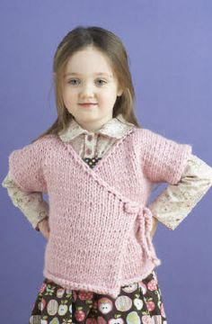Lion Brand® Wool-Ease® Thick & Quick® Tracie Baby Kimono #knit #pattern