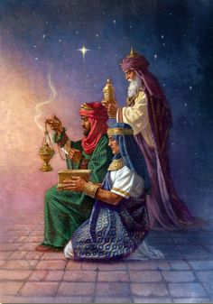 The Three Wise Men from the East, bearing gifts to the newborn King of Kings. What gift will we give to Him? Vintage Christmas Cards, Christmas Pictures, We Three Kings, Three Wise Men, O Holy Night, Windham Fabrics, Christmas Paintings, Christmas Nativity, Christmas Fabric