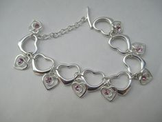 Sterling Heart Bracelet Marked 9.25 with by SilkRoadBoutique, $28.00
