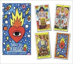Tarot del Fuego Cards <3 <3 <3 Featuring high-energy art that pops with bold colors and fiery motifs, Ricardo Cavolo's Tarot del Fuego is a deck that invites you deep into the heart of the spirit in a unique way. With rosy-cheeked figures and omnipresent eyes of fire, nothing escapes the notice of one who reads with this adventurous deck.