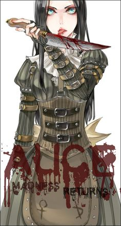 alice:_madness_returns alice_(wonderland) alice_in_wonderland american_mcgee's_alice black_hair blood buckle corset dress green_yes knife licking licking_weapon solo tongue weapon white_background