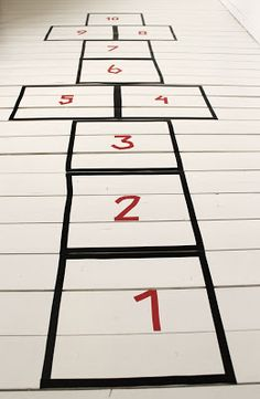 indoor hopscotch with washi tape
