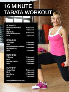 Another 16 minute Tabata workout. Printer friendly version also posted.