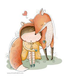 Illustrazione di bambini - Nursery - piccola ragazza carina e amico di Fox - amo mio Fox di ShivaIllustrations su Etsy https://www.etsy.com/it/listing/152404831/illustrazione-di-bambini-nursery-piccola