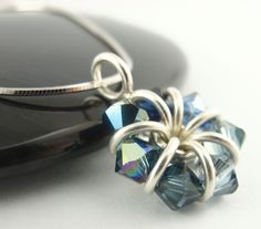 Sterling Silver Eternity Necklace - A Medley of Sapphire Swarovski Crystals. $50.00, via Etsy.