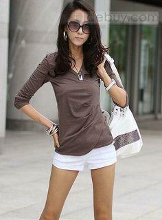 New Arrival Korean Style Pure Color V-neckline Slim Long Sleeves T-Shirt