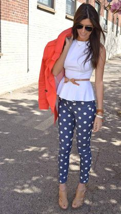 Polka dot jeans, white peplum top, orange trench coat.  CUTE